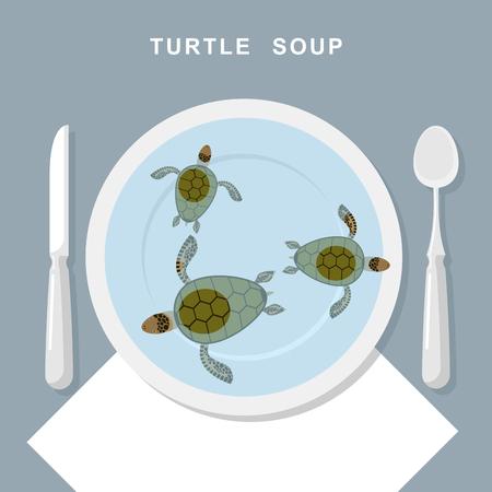 schildkröte: Schildkrötensuppe. Meeresschildkröten schwimmen in der Platte. Exotische beliebte Speisen Draufsicht. Besteck: Löffel und Messer. Vektor-Illustration von Feinkost Essen.