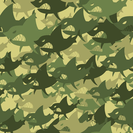 soldier fish: Military texture shark. Soldiers protective camouflage fish. Seamless background of Army Green and Brown scary marine predator.
