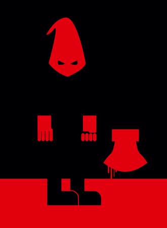 commits: Executioner in mask and with an axe. Scary Punisher stands in  blood at night. Vector illustration of torturerin stereotypical attire. Person commits penalty. Blood flows down with an axe.