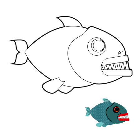 sea creature: Piranha coloring book. Terrible sea fish with large teeth. Angry sea creature. Marine predator on white background. Illustration