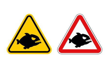 predator: Dangerous marine predator. Attention of  Piranha. Hazard symbols. Set of labels for beach of sea andocean. Illustration