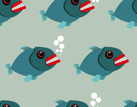 peces de agua salada: Piranha seamless pattern. Toothy fish vector background. Terrible, bloodthirsty saltwater fish. Marine predator in sea of endless texture.