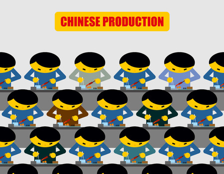 made in china: Chinese production. Lot of people at work. Chinese collected workplace equipment. Made in China.