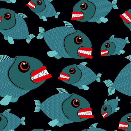 toothy: Toothy fish seamless background. Evil piranhas in sea. Vector ornament sea creatures.