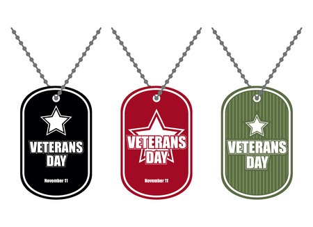 Set army badge. Soldier medallions of different colors. Logo for Veterans Day. National American holiday of November 11. Иллюстрация