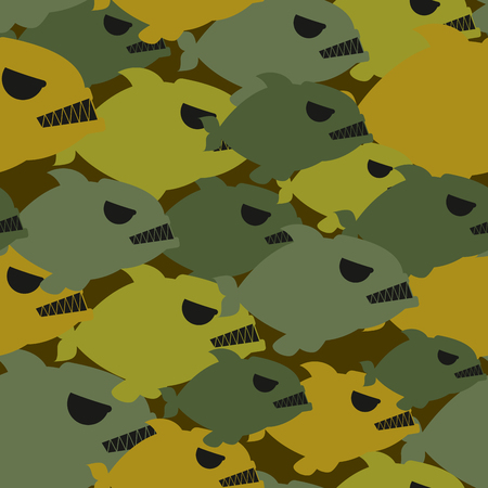 soldier fish: Army military camouflage from Piranha. Protective texture for soldiers clothing from evil sea fish. Illustration