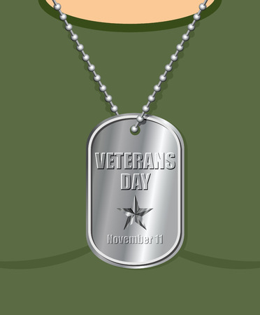 Veterans Day. Military Medallion from soldier in neck. Soldiers badge with national holiday. Traditional Celebration Of America.