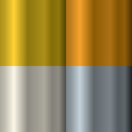 Set of textures on precious metals: gold and silver. Bronze and copper. Stock Illustratie