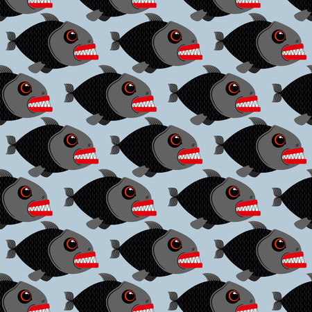 piranha: Piranha seamless pattern. Many bloodthirsty marine predators. Marine vector background. Texture of Evil fish. Flock of dangerous Piranha