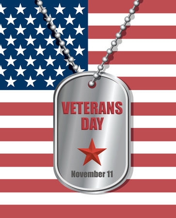 veterans: Soldiers badge on background of United States flag. Veterans day engraved on Medallion. National holiday in America. Patriotic illustration. Illustration