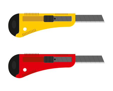 retractable: Office knife set. Stationery cutter with replaceable blades. Illustration