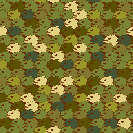 soldier fish: Military texture from Piranha. Army seamless pattern evil fish. Soldier protective camouflage of Marine predator. Illustration