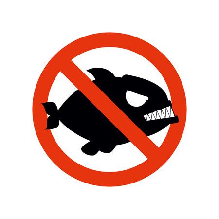 strikethrough: Forbidden Piranha. Stop fish. Red forbidding character. Strikethrough marine predator.