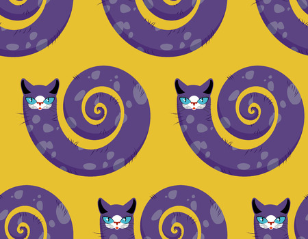 torso: Purple Cat seamless pattern. Fabulous animals vector background. Cats head and torso of serpent. Illustration