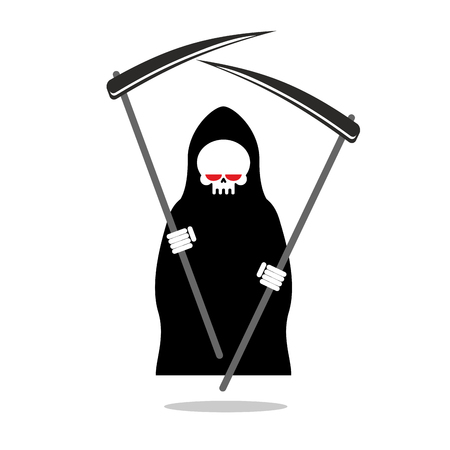 Death with two scythe. Ferocious Grim Reaper with red eyes. Skeleton in hood black cloak. Illustration for Halloween.