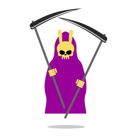 guadaña: Conejito muerte manto púrpura y guadaña.