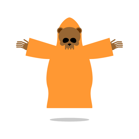 large skull: Death bear in yellow clothes reaches out his hands for hug. Skeleton of wild animal  Grim Reaper . Icon for Halloween.