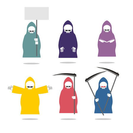 Set Grim Reaper in colored raincoats.