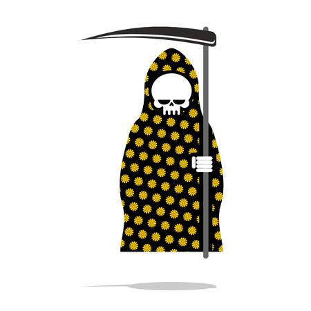 muerte: Muerte en pijamas negros con flores amarillas.
