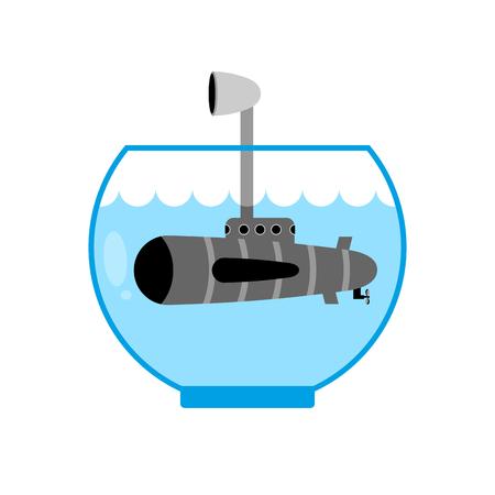 periscope: Submarine in Aquarium. Periscope above water. Monitoring space. Miniature water transport