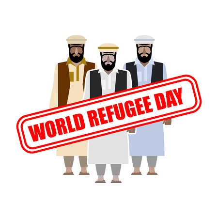 World refugee day. Expatriates in  Syrian garments. refugee stamp on people. Illustration