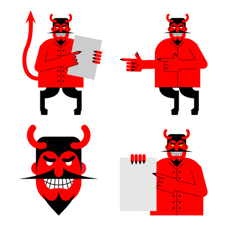 daemon: Set satana and devil. Daemon in different poses. Scary red demon shows blank. Beelzebubs head with smile and horns