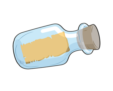 Message in bottle is empty. Glass transparent bottle with blank paper. Space for text.