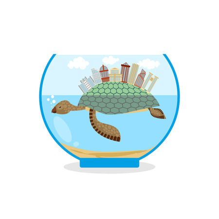 public aquarium: Mini city on shell of turtle. Micro ecosystem in an aquarium. Skyscrapers and public buildings on sea animal. Tiny residential quarter.