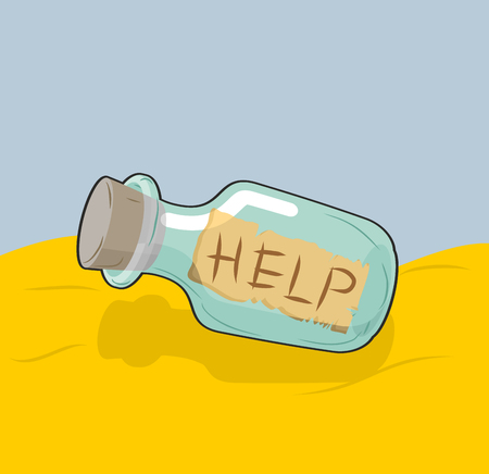 castaway: Transparent bottle with text Help on sand. Glass vessel with message issued on seashore. Last words of perishing. Illustration