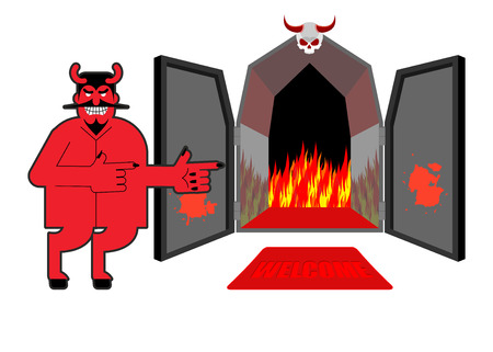 purgatory: Satan invites sinners to hell. Devil indicates hand on purgatory. Laughing Red daemon at  entrance of Hyena and  fire.