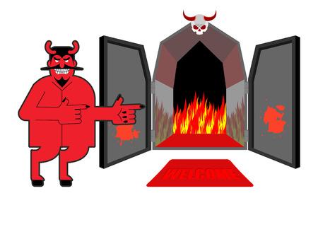 satanas: Satan�s invita a los pecadores al infierno. Diablo indica la mano en el purgatorio. Riendo demonio rojo en la entrada de la hiena y el fuego.