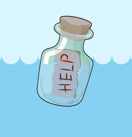 vessel sink: Bottle with message Help. Transparent glass vessel sink in water, sea or ocean. Plea for help SOS.