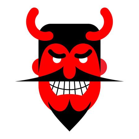 Risas Satanás. Diablo con sonrisa terrible. Demonio rojo horrible. Ilustración de vector