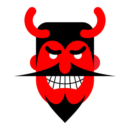 satan: Risas Satanás. Diablo con sonrisa terrible. Demonio rojo horrible. Vectores