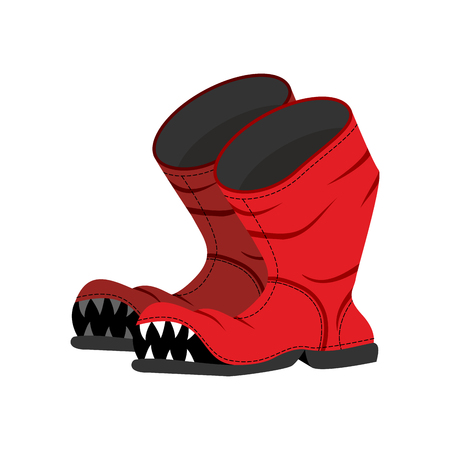 dirty feet: Broken boot with teeth. Old shoes with hole. Dreaded boot.