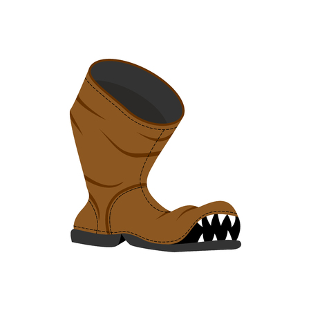dirty teeth: Broken shoes. Monster Old boots with teeth. Hole in boot.