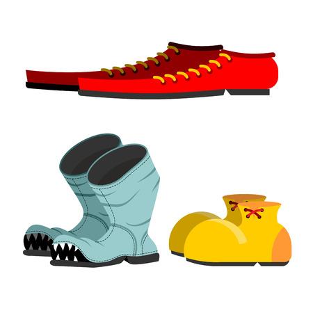 zapatos caricatura: Zapatos fijados. Botas rotas viejas. Zapatos de hombres de largo. Zapatos del payaso gracioso.