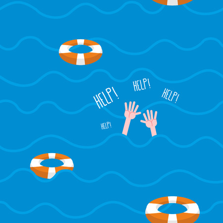 Man drowns  seamless pattern. Lifebuoy on waves of sea. Texture of sinking man raised his hands and screams-Help. Hands protrude from water. Illustration