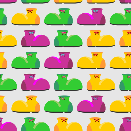 clown shoes: Clown shoes funny seamless pattern. Multicolored shoes background. Retro fabric texture.