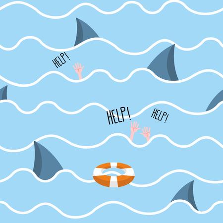 drowns: Shark in  sea seamless pattern.