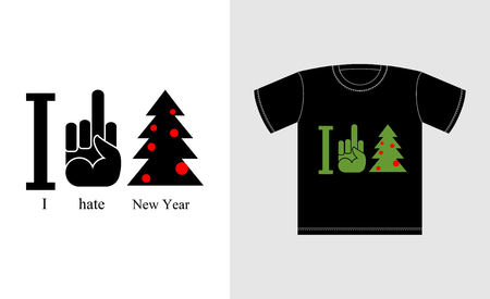 obscene gesture: I hate new year. Logo for t-shirts bully and punk. Antisocial personality. Fuck and Christmas tree Illustration