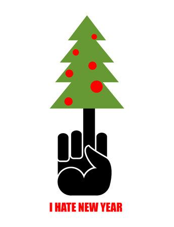 malandros: Follar y árbol. No me gusta vacaciones de año nuevo. árbol de Navidad en el dedo. Logotipo para los agresores y delincuentes.
