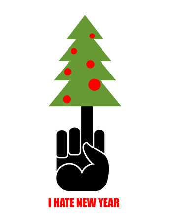 stress ball: Fuck and tree. I hate new year holiday. Christmas tree on your finger. Logo for bullies and thugs.