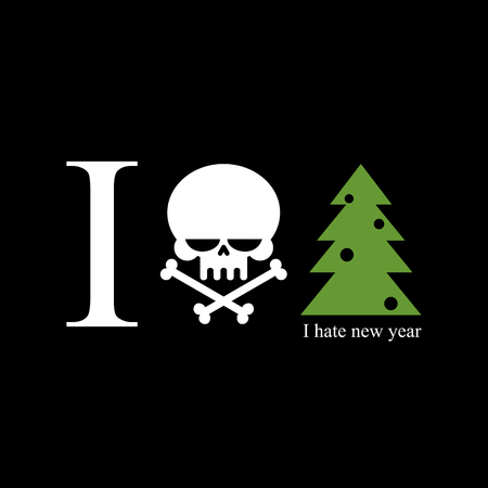 hatred: I hate new year. Skull and bones is a symbol of hatred for holiday. Christmas tree with black toys. Logo for Sociopaths and bullies. Illustration