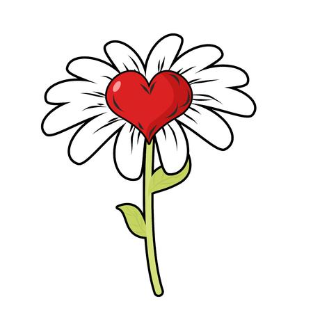 daisy petals: Flower of love. Red heart symbol of love and Daisy Petals. Fantastic flower field.