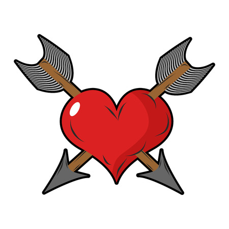 unrequited love: Heart and arrow. Two arrows pierced  sign of love. Love two people. Symbol of unrequited love.
