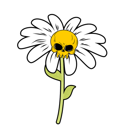 camomiles macro: Flower of death. Chamomile with skull. Head skeleton with white petals. Fantastic plant.