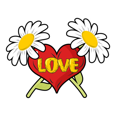 14 of february: Love. Heart and Chamomile. 14 February holiday lovers.