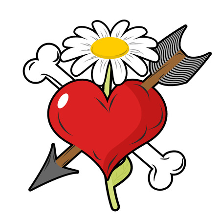 darts flying: Red heart piercing arrow symbol of love. Bone is symbol of death. Flower of life symbol. Logo for love to death, strong love.