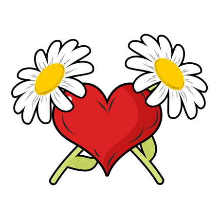 camomiles macro: Red heart and crossbones flowers. Chamomile and love. Symbol of endless love and love. Sign for Valentines day. February 14 Valentines day.